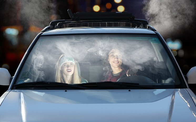 hot boxing weed in the car