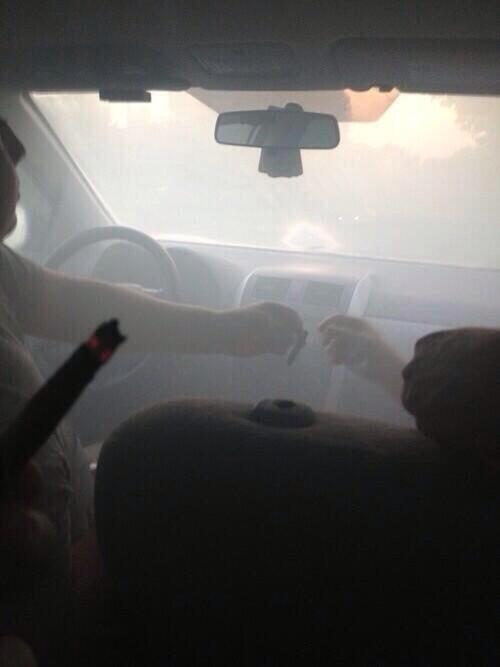 smoking joints blunts in the car
